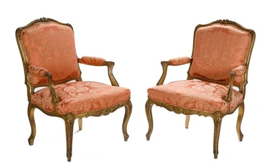 PAIR OF ANTIQUE FRENCH CARVED GILTWOOD ARMCHAIRS