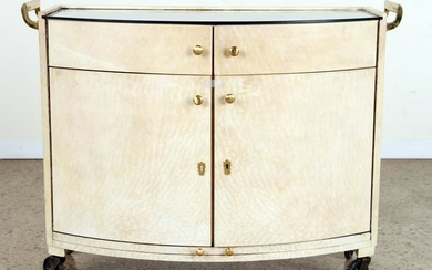 PARCHMENT COVERED DEMILUNE GLASS TOP BAR C.1950