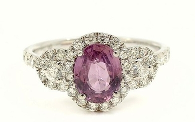 PLATINUM UNHEATED PINK SAPPHIRE & DIAMOND RING