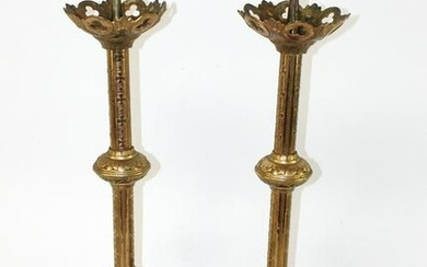 Pair French Gothic Revival bronze candle holders
