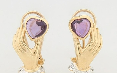 Pair of 14K Yellow Gold Diamond and Amethyst Earrings