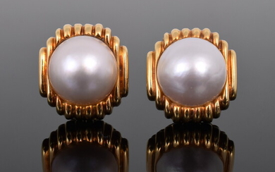 Pair of 18K Yellow Gold & Pearl Clip Earrings, Estate Jewelry