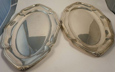Pair of Art Nouveau silver trays - .800 silver - Italy - Early 20th century