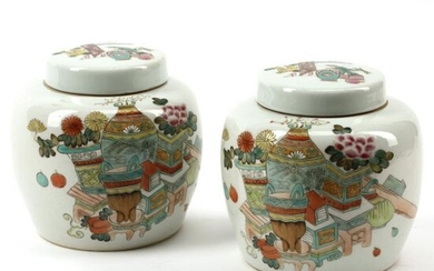 Pair of Chinese Polychrome Porcelain Jars with Covers.