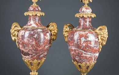 Pair of Empire-Style Marble and Bronze Urns