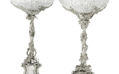 Pair of English Silverplate Fruit Stands