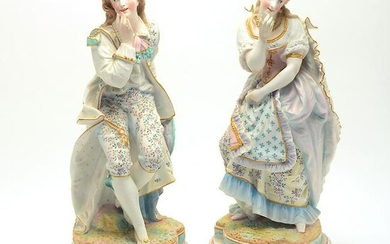 Pair of French Bisque Porcelain Painted Figures of a