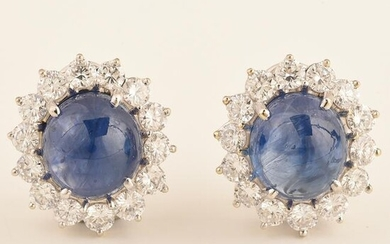 Pair of Impressive Sapphire, Diamond, 18k White Gold