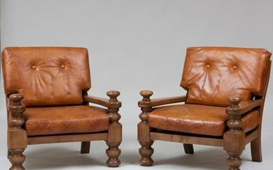 Pair of Large Modern Mahogany and Leather Armchairs
