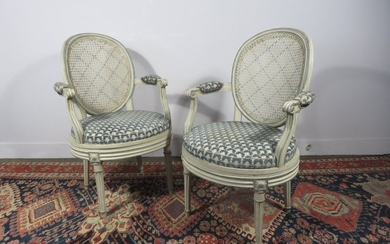 Pair of armchairs with medallion back in cream...