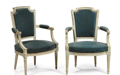 Pair of cabriolet armchairs in moulded, carved and...