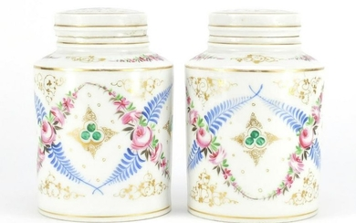 Pair of continental porcelain canisters with covers,