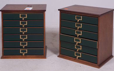 Pair walnut and leather table top file drawers