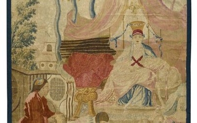 Panel cut out of fine tapestry of Aubusson (France), From the first Chinese drapes after Blain de Fontenay. L'audience du Prince In silk and wool First part of the 18th century 207 x 150 cm (maintenance restorations, colour highlights, probably a...