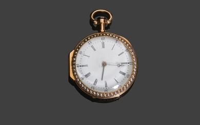 Pocket watch in 750 thousandth yellow gold, white enamelled dial, hour markers, Roman numerals, bezel and back decorated with a line of half pearls, painted enamelled back of Mars and Venus, 1838-1893 (half pearls are missing) gross weight 39.1 g.