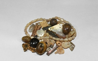 Post Medieval Mother of Pearl and Agate Bead Group