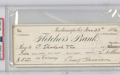 President Benjamin Harrison Signed Check, PSA/DNA