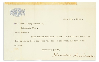 ROOSEVELT, THEODORE. Brief Typed Letter Signed, as President of the Board of Police Commissioners of NYC, to author Hattie Tyng Griswol