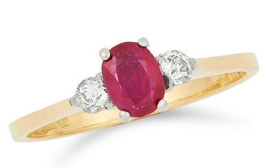 RUBY AND DIAMOND RING set with an oval cut ruby between