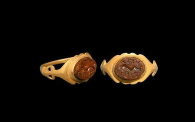 Roman Gold Ring with Dolphin Gemstone