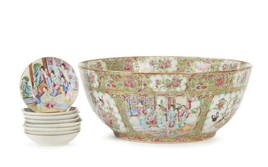 Rose Medallion porcelain punch bowl and eight saucers 19th...