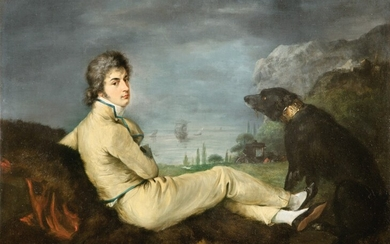 SPANISH SCHOOL, CIRCA 1780 | PORTRAIT OF AN ARTIST WITH HIS DOG IN A LANDSCAPE