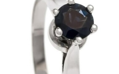 Sapphire ring WG 585/000 with a round fac. Sapphire 5.3