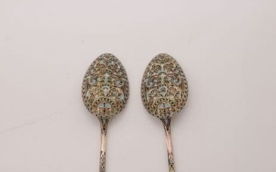 Serving spoon (2) - .840 silver, enamel - Russia - Late 19th century