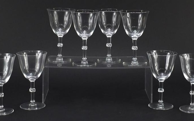 Set of eight Lalique Beaugency glass with part frosted