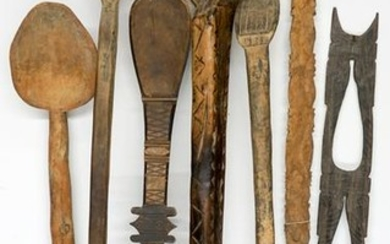 Seven Antique Carved Wood Ethnic Spoons
