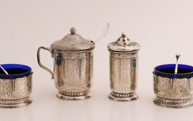 Silver menage set, 830/000, with 2 round spice trays