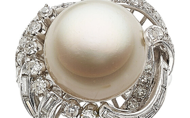 South Sea Cultured Pearl, Diamond, White Gold Ring The...