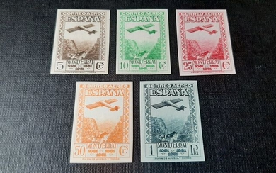 Spain 1931 - 9th Centennial Montserrat Monastery Foundation. Complete imperforated set. - Edifil 650s/654s