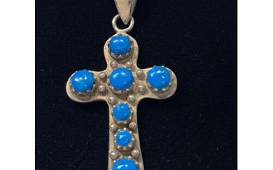 """Sterling Silver 925 Turquoise Cross on an 18"""" Sterling Ssilv..."""