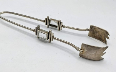 Sterling Silver Tongs with faceted stone. Vintage. Mark