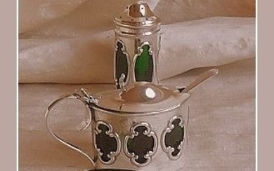 Sterling silver 3-piece Edwardian condiment set - .925 silver - William Henry Sparrow / James Dixon & Sons - England - 1904 and 1908 / 1917