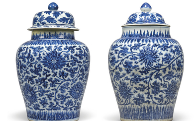 TWO CHINESE BLUE AND WHITE BALUSTER VASES AND TWO COVERS, 18TH-19TH CENTURY