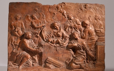 The Terracotta Nativity carved in high relief representing the Virgin assisted by angels and shepherds, Follower of Bernini, Late 17th-early 18th century. Work to be compared with the work of the Roman artist Bartolomeo MAZZUOLI (1674-1748) 28.5 x 37 x...