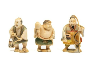 Three Japanese Painted Carved Bone Netsuke Figures