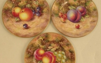 Three Royal Worcester side plates, decorated with fruit by F...