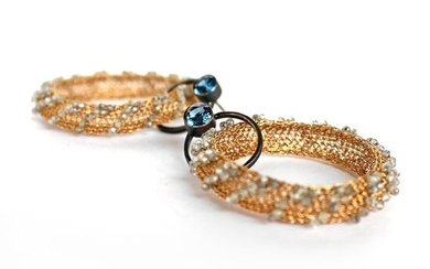 Tove Rygg - 18 kt. Yellow gold, Silver oxidized - Earrings Topaz - Aquamarines