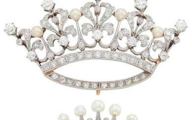 Two Antique Gold, Platinum, Diamond and Pearl Crown Brooches
