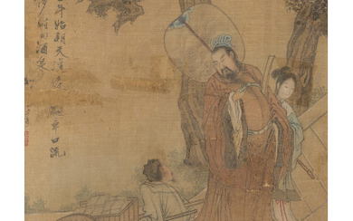 Two paintings on silk depicting sages and with inscriptions China,...