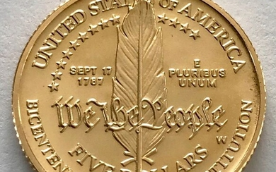 United States - 5 Dollar 1987 W - Constitution Bicentennial - Gold