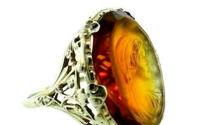 VICTORIAN 14k White Gold & Carved Citrine Cameo Ring