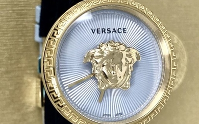 Versace - Palazzo Empire IP Gold Blue 34 mm dial leather Swiss Made- VECQ00918 - Women - 2011-present