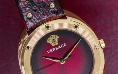 """Versace - Shadov Watch Red Snake Pattern Leather Strap Swiss Made - """"NO RESERVE PRICE"""" VEBM00918 - Women - Brand New"""