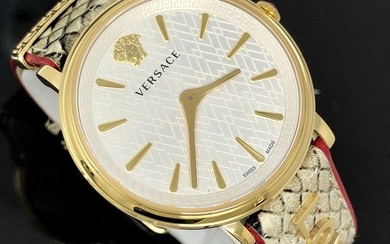Versace - V-Circle Manifesto Love Gold-Plated + Extra Strap Swiss Made - VBP080017 - Women - Brand New