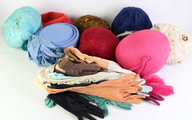 Vintage And Other Hats Incl Feather Examples, Together With Gloves