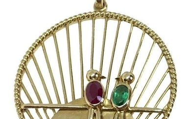 Vintage French 18k Yellow Gold Love Birds Ruby Emerald